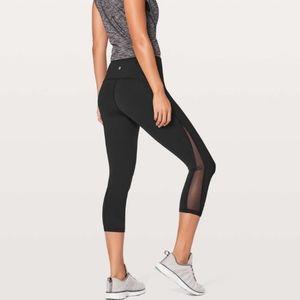 Lululemon cropped leggings with mesh windows
